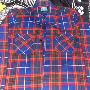 Pendleton Made In The USA Flannel Large 100% Wool